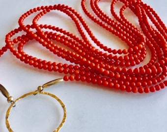 Gift  Red Coral Bead Necklace with Gold Accent
