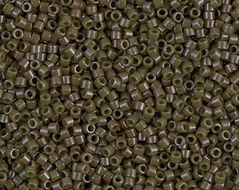 11/0 Miyuki Delica Seed Beads DB657 - Dyed Opaque Olive Drab Delica 657, DB-657 Miyuki Delica Beads - 6 Grams - Delica Drab Olive 657