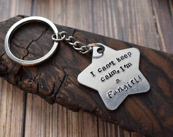 Fangirl Star Metal Stamped Keychain, Can't Keep Calm I'm a Fangirl Fandom Keyring, Stamped Geek Girl Star Keychain Keyring