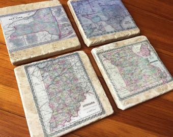 State Map Coasters - Mother's day gift - Custom Map Coasters - Custom State Map - Natural Stone Coasters - Housewarming Gift - Gift Idea