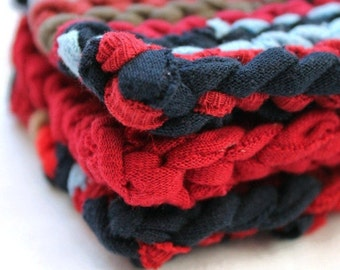 Americana Coasters Rustic Square Knitted Navy Blue Tan Crimson Red Primitive Decor Upcycled T Shirts (set of 3) -US Shipping Included