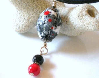 Black and White Necklace, Red Dots Necklace, Hand  Painted Wood Bead Pendant, Black Onyx and Red Coral Dangly Pendant Drop