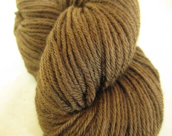 Hand-Dyed Yarn - Wool - Plant-Dyed with Black Walnut Hulls - Worsted Weight - YAW101725 - 100 grams