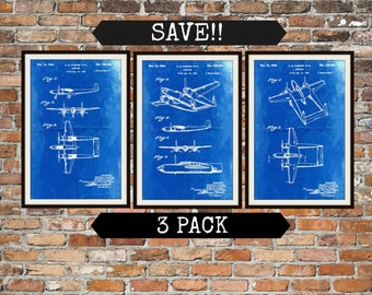 Blueprint Art of Planes Howard Hughes Patents Pack of 3 Plane Patent Technical Drawings Engineering Drawings Patent Blue Print Art Item 0134
