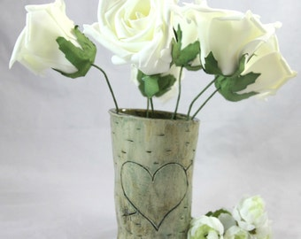 Small Faux Wood Vase - Carved Heart Vase
