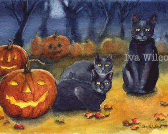 Black Cat Halloween  - PRINT of my Original Watercolor Painting Folk Art