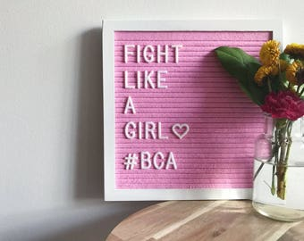 "LIMITED EDITION - Breast Cancer Awareness - PINK felt letterboard with 290 interchangeable letters - 10"" x 10"""