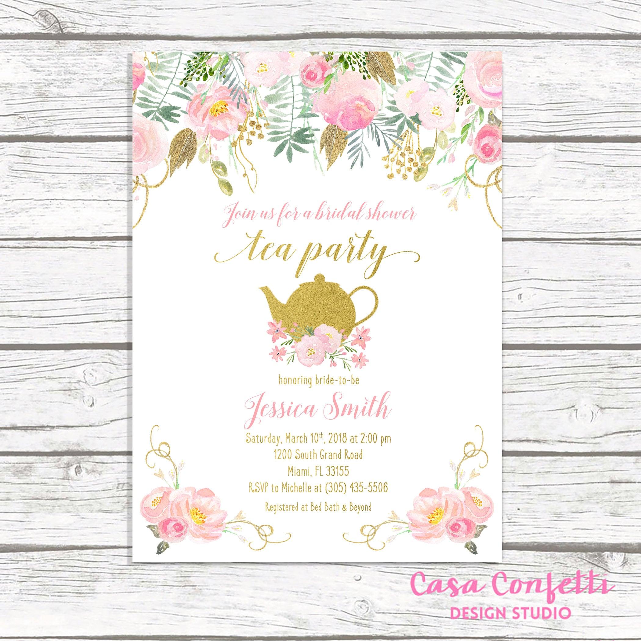 Wonderful Tea Party Invitation, Bridal Shower Invitation, Bridal Tea  EA42