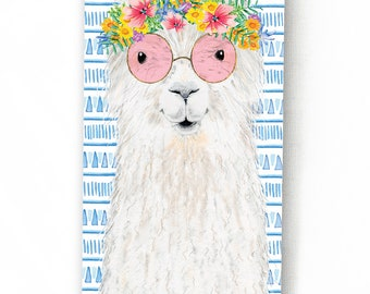 Greeting Card with a llama // Illustration of a llama with a flower wreath and pink glasses, Large format card, Boho card, Birthday card