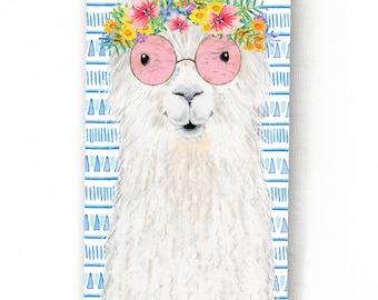 Carte de voeux lama // Illustration d'un lama avec couronne de fleurs, Style boho, Motif aztèque, Sans texte à l'intérieur, Grand format