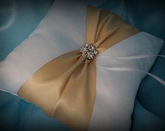 White or Ivory Ring Bearer Pillow with Champagne Gold, Light Gold, Raw Silk Satin Ribbon- Rhinestone Embellishment-Custom Ribbon Colors