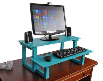 Standing Computer Desk, Reclaimed Wood, Turn Any Desk or Table Into a Stand Up Wood Desk, Choose Your Custom Finish Color