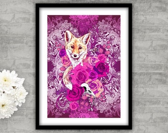 Pink Fox & Flowers Art Print Beautiful Wildlife Wall Art Colour Illustration Pretty Roses Intricate Patterned Gothic Skull Unusual Nature