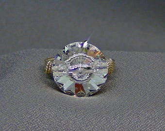 Wire wrapped / Clear Swarovski Crystal Button Ring - 14k Gold Filled - Size 10 - Hand Crafted Artisan Jewelry