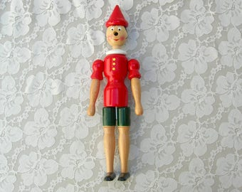 "Tall Pinocchio Wood Doll, 12 1/2"" made in Italy, do-it-yourself nose, movable parts, handcrafted and handpainted"