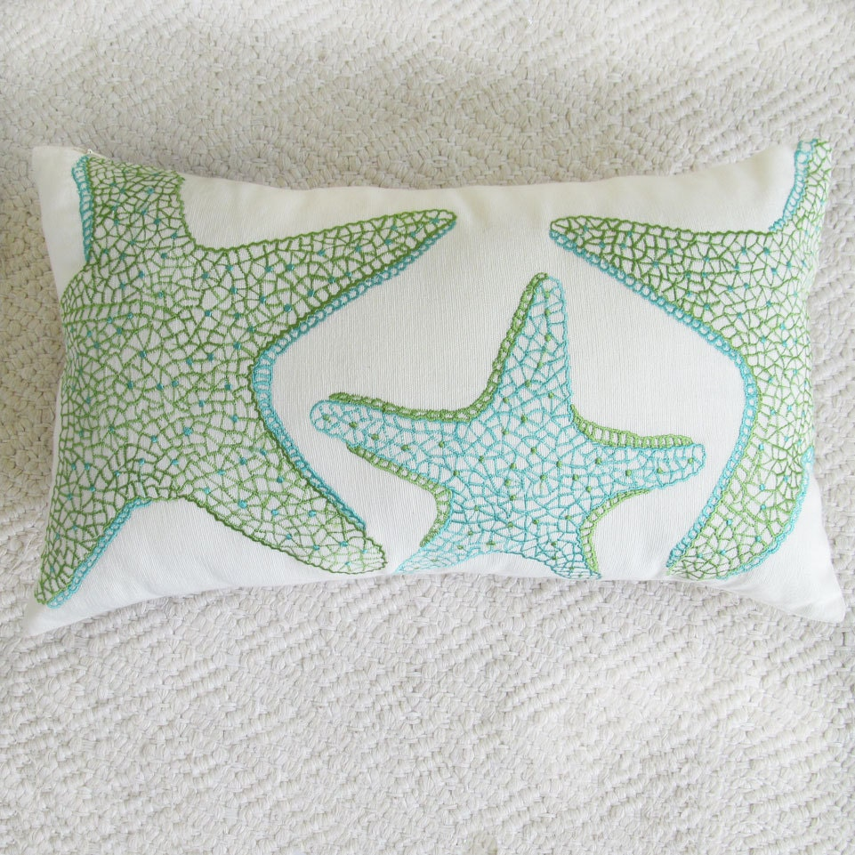starfish pillow cover in aqua blue and green decorative beach