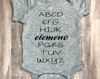 "Alphabet ""Elemeno"" Baby Onesie, Funny Gift"