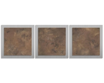 Earth Tone Metal Wall Sculpture 'Earth Essence' - 38x12 in. - Brown & Silver Wall Accent Art - Neutral Tones Artwork - Contemporary Décor