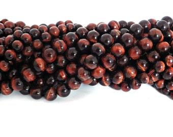 8mm Red Tiger Eye Round Beads - A Grade