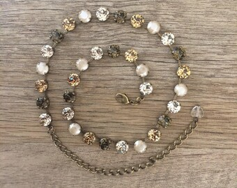 Swarovski Crystal Soft Beige Tones 8mm Neutral Necklace // Taupe Tones // Gifts for Her // Perfect for Fall