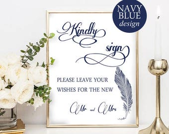 Guest Book Sign, Guest Book Alternative Sign, Guest Book Printable, Mr and Mrs Sign, Navy Blue Wedding, Instant Download, PDF, #HQT014_23b