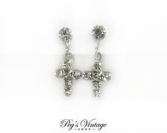 Rhinestone Silver Tone Cross Earrings, Vintage Costume Jewelry