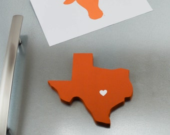 """Texas Longhorns """"State Heart"""" Magnet, handcrafted wood with official team colors"""