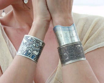 New Orleans Etched Sterling Silver Jewelry of Bayou St. John with Blue Patina - Cuff Bracelet of Historical Map