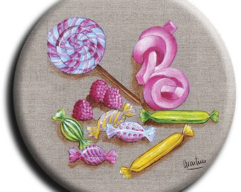 Magnet magnet candy, lollipops, marshmallows and barley sugar and no. 12 diameter 45 mm