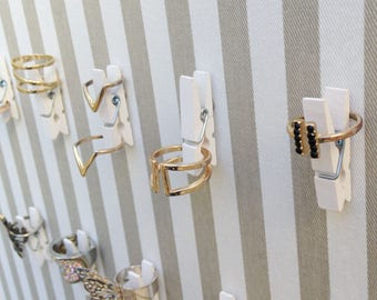 Ring Holder / Earring Holder Wall / Ring Display White / Wood Magnetic Clothespins