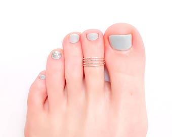 Silver Toe Ring, Sterling Silver Toe Ring, Hammered Toe Ring, Knuckle Ring, Midi Ring, Summer Ring, 925 Sterling Silver