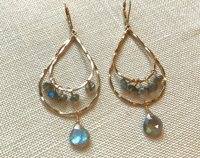 Double Tiered Gold and Labradorite Earrings