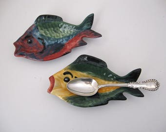 Small Chappell Pottery Spoon Rest, Soap Dish, Yellow or Red Little Fish Spoon Rest, Home Decor, Gift for Her/Him, Cute