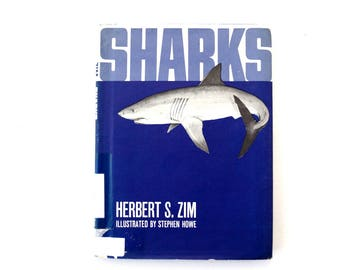 "Vintage ""Sharks"" by Herbert S. Zim (c.1966) - Collectible Shark Book, Shark Week Decor, Shark Ephemera and Oddity"