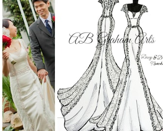 Front & Back: Personalized Wedding Dress Sketch