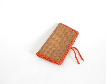 Rustic orange crochet checkbook holder, handmade crochet checkbook container with faux leather, READY TO SHIP