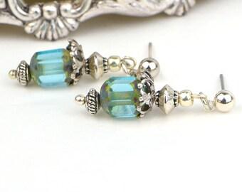 Blue Beaded Earrings, Silver Dangle Earrings, Art Nouveau Jewelry, Romantic Jewelry Gift, Best Jewelry Gift Girlfriend, Best Jewelry Gift