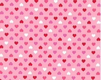 Mini Hearts on Valentines Pink from Robert Kaufman's Sevenberry: Petite Classics