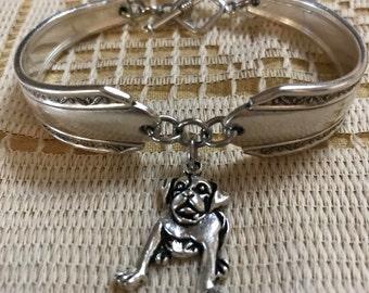 BULLDOG on Vintage Handcrafted Silverware Spoon Bracelet