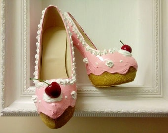 Cupcake with cherry and cream, Hand Made Shoe High Heels Size 3 4 5 6 7 8 UK Painted Custom Bespoke