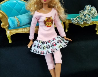 Hand Made Pink Owl Tunic with Leggings/Capris, Shoes for Barbie and Friends
