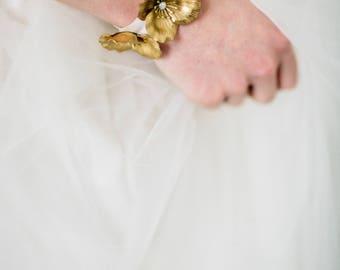 Flora bracelet, bridal bracelet, wedding jewellery, bridal jewellery, wedding cuff, bridal cuff, wedding bracelet, gold bracelet #140