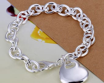 925 Sterling Silver Layered Lovely Solid Heart Pendant Charm Chain Bracelet 8''