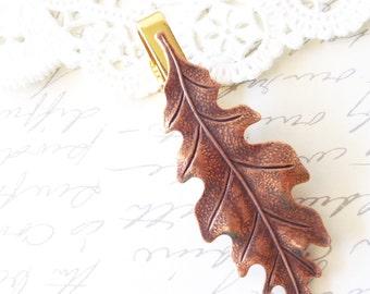 Copper Oak Leaf Tie Bar - Oak Leaf Tie Clip - Mens Tie Clip - Wedding Accessory - Groomsmen Leaf Tie Bar - Woodland Wedding