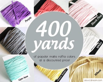 400 yards Bulk Raffia Ribbon - Choose your Colors - Weddings Formal Events