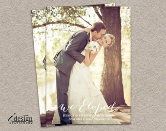Elopement Announcement | Wedding Announcement Cards | We Eloped Card | Printable Marriage Announcement With Photo