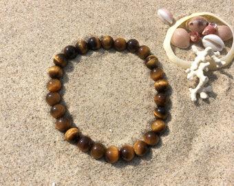 Bracelet Oeil de Tigre en perles rondes de 6 mm