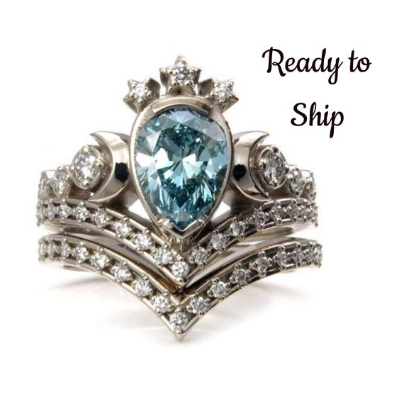 OOAK Lunar Priestess Engagement Ring - Irradiated Blue Pear Diamond with White Diamonds - 14k Palladium White Gold - Size 6-8 Ready to Ship