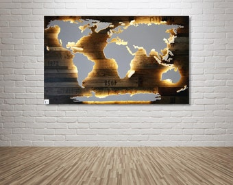 "Illuminated wooden world map - 50x30inch ""Amundsen"""