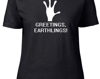 Greetings, Earthlings! Aliens. Ladies semi-fitted t-shirt.